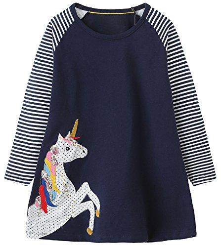 Kaily Mädchen Baumwolle Langarm Tiere Mustern T-shirt Kleid(7656TZ,2T(2-3Jahre)) (Shirt 2t 2)