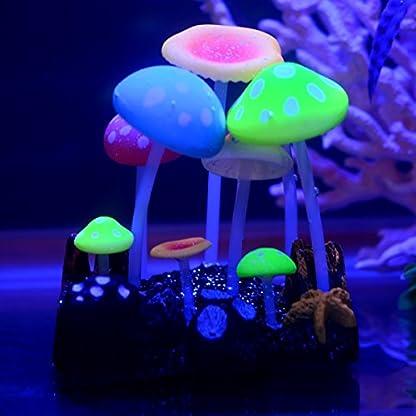 Uniclife Glowing Effect Artificial Mushroom Aquarium Plant Decor Ornament Decoration for Fish Tank Landscape 6