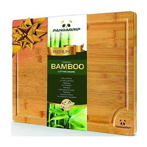 Tagliere in bambù 100% organico extra large con scanalatura per il succo. il miglior tagliere da cucina per carne (tagliere da macellaio) formaggio e verdure | vassoio da servizio con manici resistente anti microbico. qualità professionale ecologico (44,5 x 30 x 2 cm) (44.5 x 30 x 2 cm)