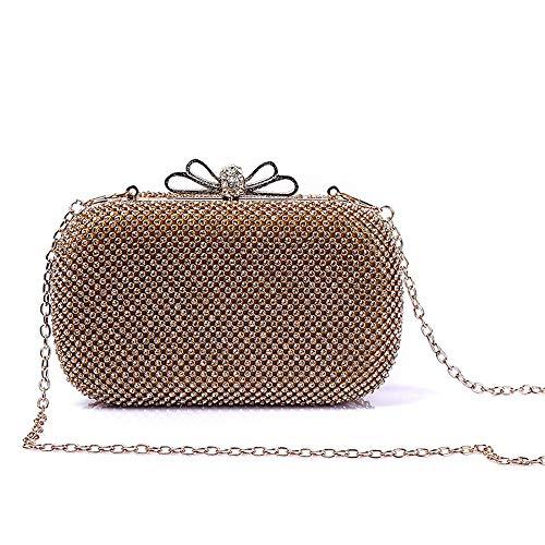 Strass Bow Bankett Clutch Taschen Braut Hochzeit Brautjungfer Kleid Kette Schulter Messenger Bag Wallet Abendtaschen Brieftasche (Farbe : Gold) ()