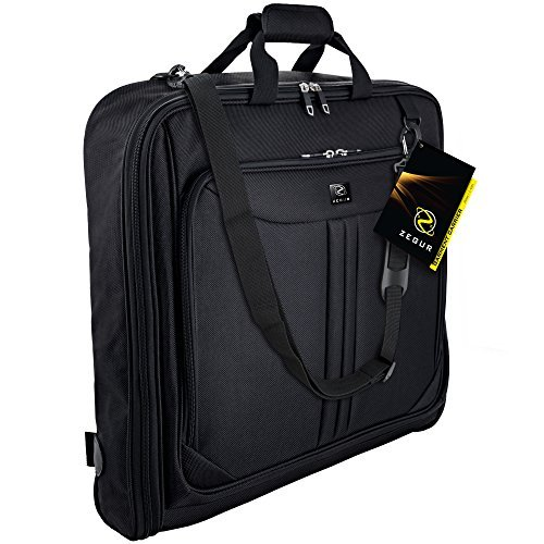 Zegur 40-Inch 3 Suit Carry-on Garment Bag for Travel or Business Trips - Features an Adjustable Shoulder Strap and Multiple Organisation Pockets – Black