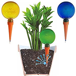 Pack of 3 Large Plantpal Watering Globes. New Clear Colours BLUE, GREEN and ORANGE, clear view of water level. Holiday and Everyday Self Watering for plants. (A Christmas Gift Idea for Plant Keepers)