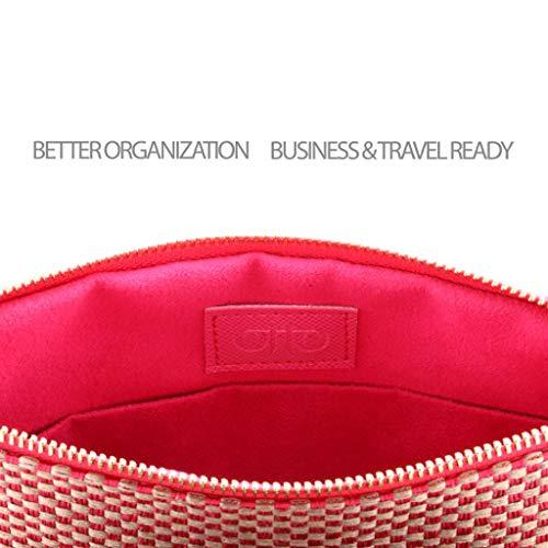 Otto Angelino Designer Damen Clutch - Unterarmtasche - Kleiner Kreditkartenhalter mit Münzfach - Ultra-schlanke, Leichte Tasche - Rosa Wildleder Fransen