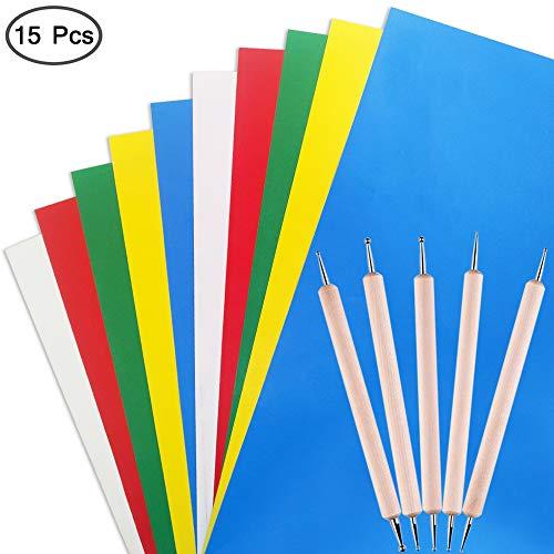 papel de trazado soluble en agua de carbono tela AFUNTA 10 piezas de papel de transferencia con 5 piezas de l/ápiz /óptico de doble punta para repujado madera para costura kit de pintura para punto