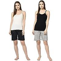 Espresso Women Casual Elastic Waist Pocketed Printed Pyjama Shorts - Pack of 2