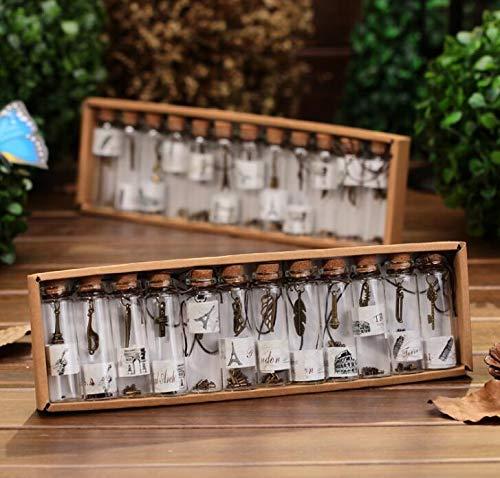 Yichener 12 Stück/Pack Kreatives Geschenk niedliche Mini Glas Kork Stopper Wunschflaschen Fläschchen Behälter Kleine Vintage Ornamente Craft Decor
