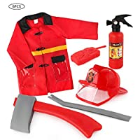 Fire Chief Role Play Costume for Kids, Role-Playing Play House Toys for Children, Fireman Dress-Up Pretend Costume Accessories for 3 4 5 6 Years Old Boys, Girls, Preschoolers