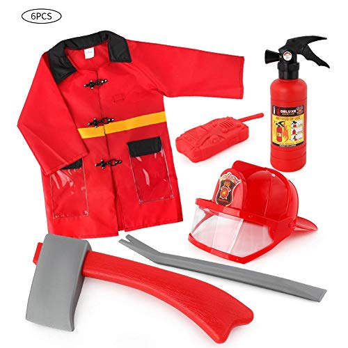 Kinderkostüm Feuerwehrmann Feuerwehr Einsatzjacke Ausrüstung Feuerwehrmann Kostüm und Feuerwehrmann Zubehör für Kinder (3-7 Jahre alt)