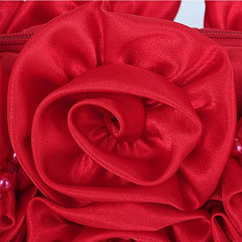 Rose Red Damen Fashion Party Perlen Handgemachte Dinner Bag Tasche Kette Dame Flower Schulter RwqU6f