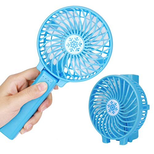 ric Fans Mini Portable Outdoor Fan with Rechargeable Battery Foldable Handle Desktop for Home and Travel-Blue ()