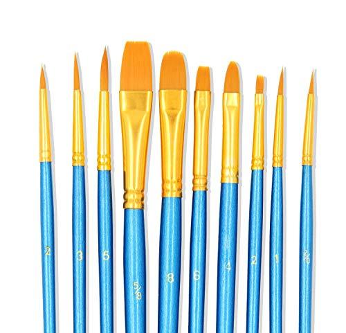 Kunstpinselset, Nylonborsten, für Aquarell-, Öl-, Acrylfarben und zum Kinderschminken, 10 verschiedene Pinselformen