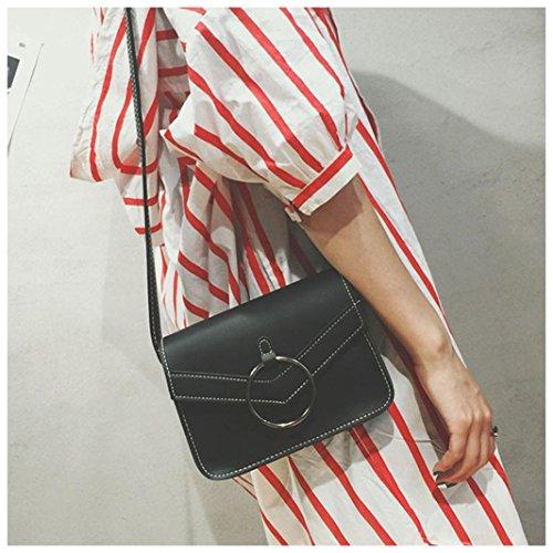 Longra Donna Sacchetto di spalla del sacchetto femminile nuovo sacchetto di spalla del sacchetto quadrato Nero