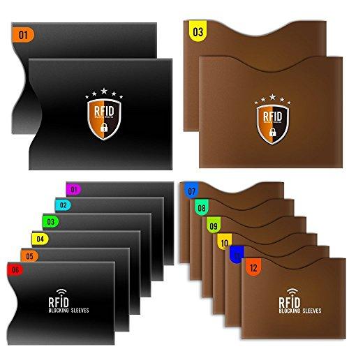 Tecboss 16-Pack Bloqueo RFID para Tarjetas de Credito y Pasaporte [12 Protectores Tarjeta Credito & 4 Protectores Pasaporte]