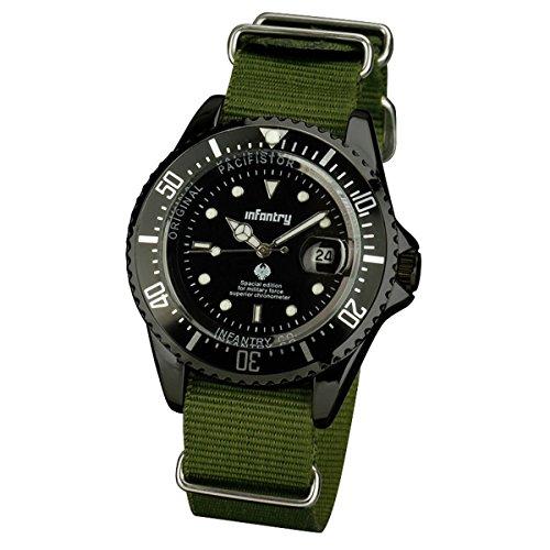 INFANTRY® Herren Analoges Quarzwerk Armbanduhr Outdoor Militär Uhren Datum Lupe Nylon Band