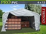 Dancover Lagerzelt Zeltgarage Garagenzelt PRO 6x12x3,7m PVC, Grau