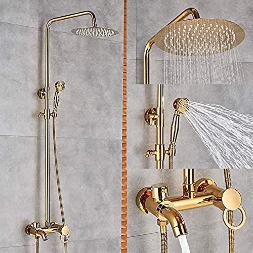 Npt Wand (GHJGFGH Bad Wasserhahn Gold Messing Wand Handbrause Badewanne Set)