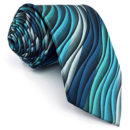 Shlax&Wing Einzigartig Herren Seide Krawatte Blau Geometrisch Extra lang Dünne -