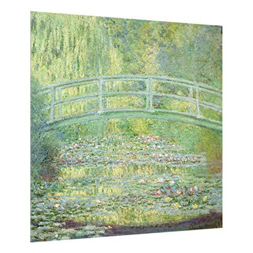Bilderwelten Spritzschutz Glas - Claude Monet - Japanische Brücke - Quadrat 1:1, 59cm x 60cm (Kuchen Brücke)