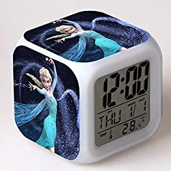 SXWY La Reine des Neiges Réveil numérique, lumières colorées réveil de l'humeur Horloge carrée Disponible Chargement USB adapté aux Cadeaux spéciaux pour Enfants garçons et Filles (02)