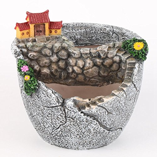 Ounona micro paesaggio vaso di fiori artificiali piante grasse Tiny creative supporto per fioriera con dolce casa