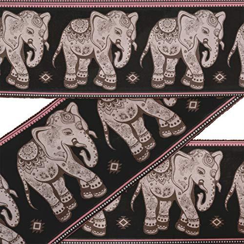 rt Schwarz Stammes- Elefant Tier Stoff Schnürsenkel für Kunsthandwerk bedruckt Samtbesatz Stoff Nähen Grenze Band schneidet 9 Yard 4 Zoll ()