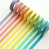Ailiebhaus 10x Washi Tape DIY Dekorative Regenbogen Klebeband Dekobänder Aufkleber (Bunt10P)
