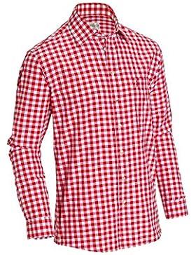 Almsach Herren Regular Fit Trachten Hemd LF106 rot