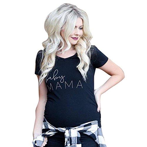 Highdas Maternity Schwarzes T-Shirt mit Baby MAMA Print Top Raglan Sleeves M (Maternity Sleeve T-shirt)