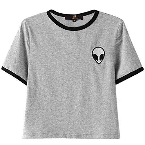 ISASSY da donna, stile Casual, da ragazza, motivo a strisce, in cotone a manica corta con stampa Alieni a T, Crop top, blusa, colore: grigio
