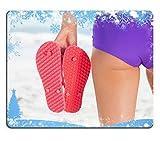 Liili Mouse Pad-Tappetino per Mouse in gomma naturale con immagine di ID 31857742 composito immagine snow-Telaio da donna della vista posteriore giovane di infradito