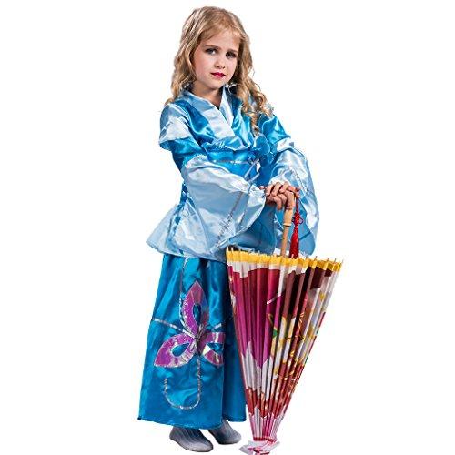 EraSpooky Japanische Traditionelle Prinzessin Blue Geisha - Geisha Mädchen Kostüm Für Erwachsene
