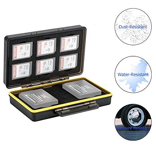 JJC Étui pour Cartes Mémoire pour 6 Cartes SD SDHC SDXC avec 2 fentes pour  Batteries Fuji Fujifilm NP-W126 NP-W126S compatible avec X-T3 X-T30 X-T100