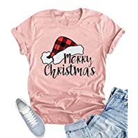 KIDDAD Women Merry Christmas Santa Plaid Hat Cute T-Shirt Short Sleeve Letter Print Tops Size S (Pink)