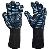 GEEKHOM BBQ Grill Handschuhe, 35,6 cm Extreme Hitze Beständig Handschuhe, Schutz bis 932 °F, flexible Safe Ofenhandschuhe für Grillen, Kochen