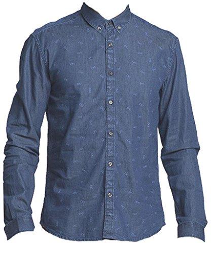 Selected glatt Denim-Hemd slim fit Blau