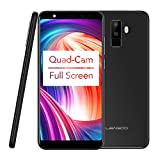 Leagoo M9 - 18:9 Full Display, 5.5 Inch 3G Smartphone, Android 7.0 Quad Core 2GB+16GB, 4 Cameras 8MP+2MP & 5MP+2MP, Fingerprint ID, Dual SIM, Unlocked Full Screen Mobile Phone