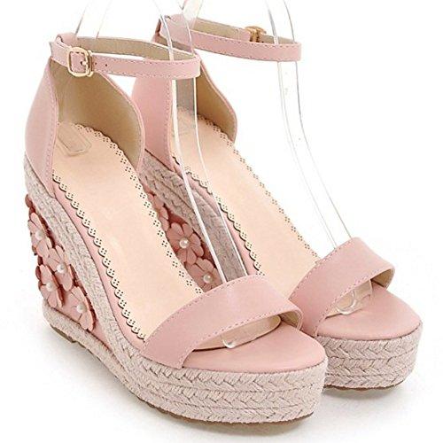 COOLCEPT Femme Mode Sangle De Cheville Sandales Talon Compense Bout Ouvert Chaussures Avec Fleur Taille Rose