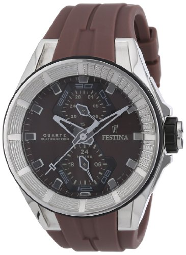 Festina Men's Quartz Watch with Brown Dial Analogue Display and Brown Rubber Strap F16611/2