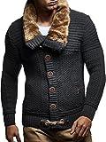 LEIF NELSON Herren Strick-Jacke mit Knöpfen | Casual Strick-Hoodie Slim Fit | Moderner Männer Strick-Cardigan Langarm mit Schalkragen Kleidung Männer