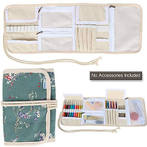 Teamoy Organizador de la Caja de la Lona para los Ganchos de Ganchillo Crocheting Needles Bag-Plum Flowers(Sin Accesorios incluidos)
