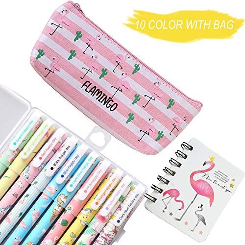 Lhasam Cute Unicorn & Flamingo bolígrafos de gel de color con 10 bolígrafos, 1 estuche para lápices de flamingo, 1 cuaderno pequeño para artículos escolares para niñas regalo de papelería escolar Escuela de oficina   Marca: Lhasam   Embalaje: Env...