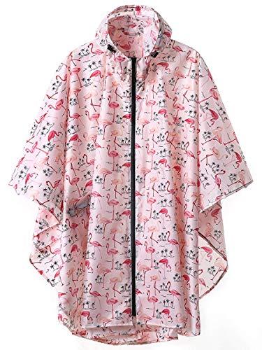 LINENLUX Regen Poncho Jacke Mantel für Erwachsene mit Kapuze wasserdicht mit Reißverschluss im Freien (Erwachsene Regen Rosa Für Mantel)