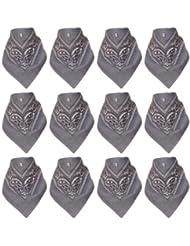 Lot de 12 Bandanas avec motif Paisley original en gris