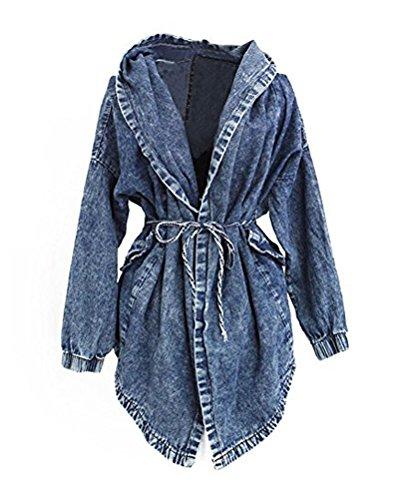 Jeansjacke Damen Jacke Kapuzen Pullover Jeans Mantel Jacket Mantel Pocho mit Kapuze Outerwear - Mescara