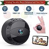 Mini Caméra Espion Cachée sans Fil WiFi, Tesecu Cam IP HD1080P Vision Nocturne Détection de Mouvement Caméra de Surveillance Sécurité pour iPhone/ Android/ Support Maximum Carte de 128G(Pas Incluse)...
