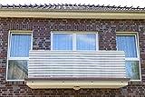 0,9 x 3 meter, Grau&Weiß Streifen PE Balkonsichtschutz, Balkonverkleidung, Windschutz, Sichtschutz und UV-Schutz für Balkon, Gartenanlagen, Camping und Freizeit (0,9 x 3 meter, Grau&Weiß Streifen)