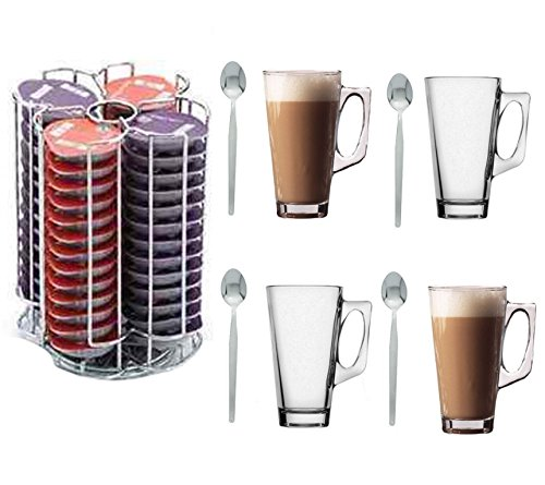 Home Treats 56 Tassimo T-Disc Coffee Capsule Holder With 4 Free Latte Glasses and Spoons Test