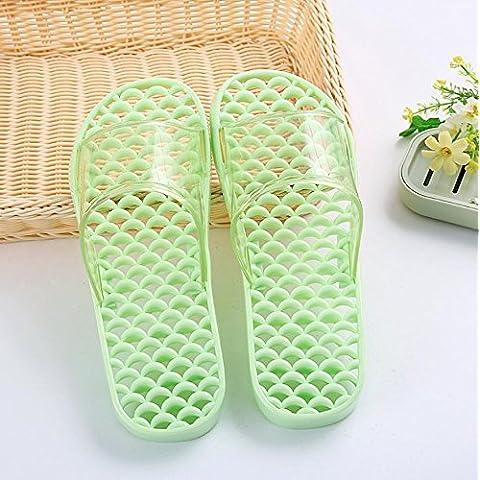 ZHLONG Pantofole da bagno domestico delle signore massaggio pantofole cava anti-scivolamento PVC Pantofole , fruit green , m