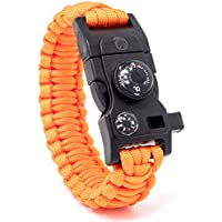 STEINBOCK7® Survival Armband 16-in-1, Paracord, Pfeife, Feuerstein, Messer, Kompass, Thermometer, Multitool