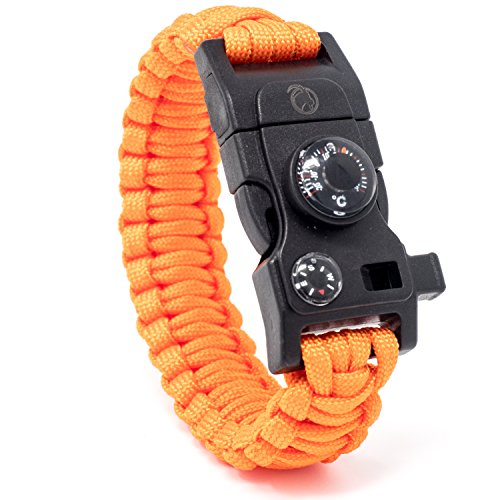 Imagen de steinbock7® pulsera de supervivencia 16en 1, correa de paracord, silbato, pedernal, cuchillo, brújula, termómetro, multiherramientas, naranja, 23 cm